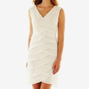 NWT Pearlescent Ruched Tiered Tulip Ruffle Dress